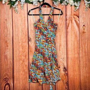 Gap Halter Wrap Zigzag Patchwork Dress